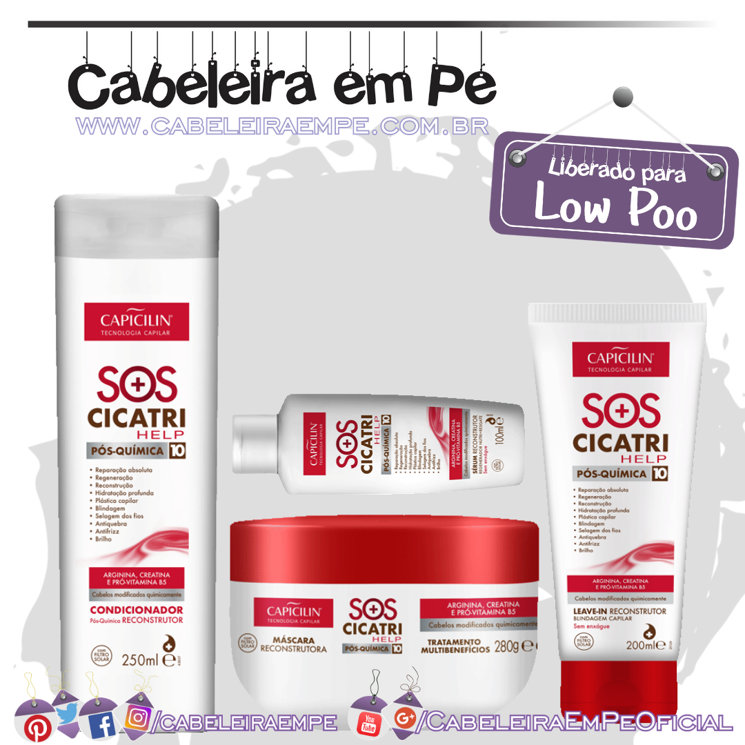 Condicionador, Máscara, Leave in e Sérum SOS Cicatri Help - Capicilin (Low Poo)