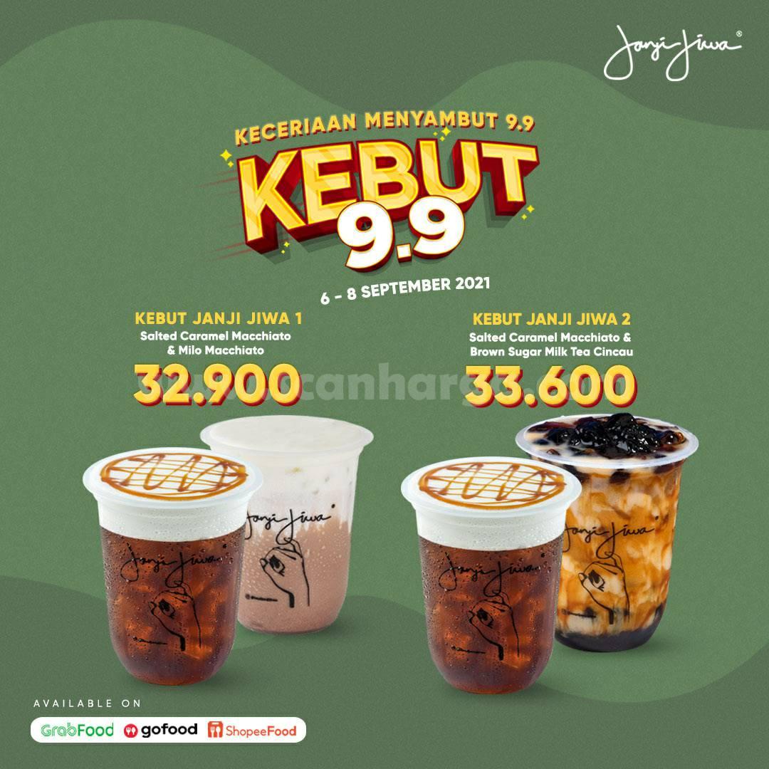 Kopi Janji Jiwa Promo KEBUT 9.9 harga spesial Paket 2 Minuman mulai 30 Ribuan*
