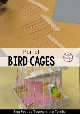 Second Grade STEM: Build a bird cage and the parrot that lives in it! Check this blog post for a book suggestion and materials list.