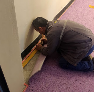 Double sided tape to secure the underlay