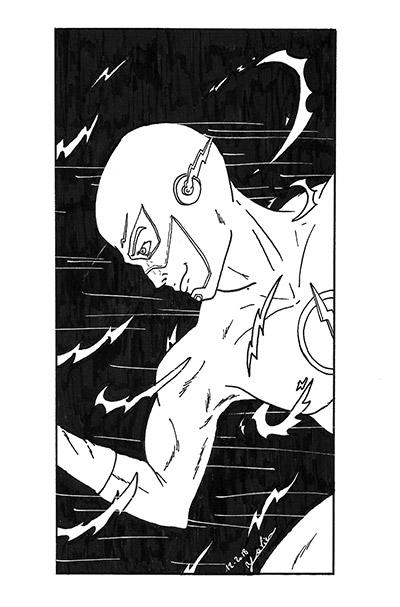 Dessin de Flash en Noir et Blanc