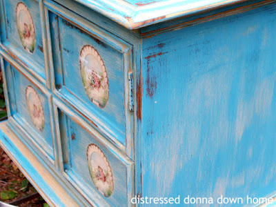 distressed painting, cabinet makeover, Farragoz, The Graphics Fairy.  Americana Decor Chalky Finish in Escape