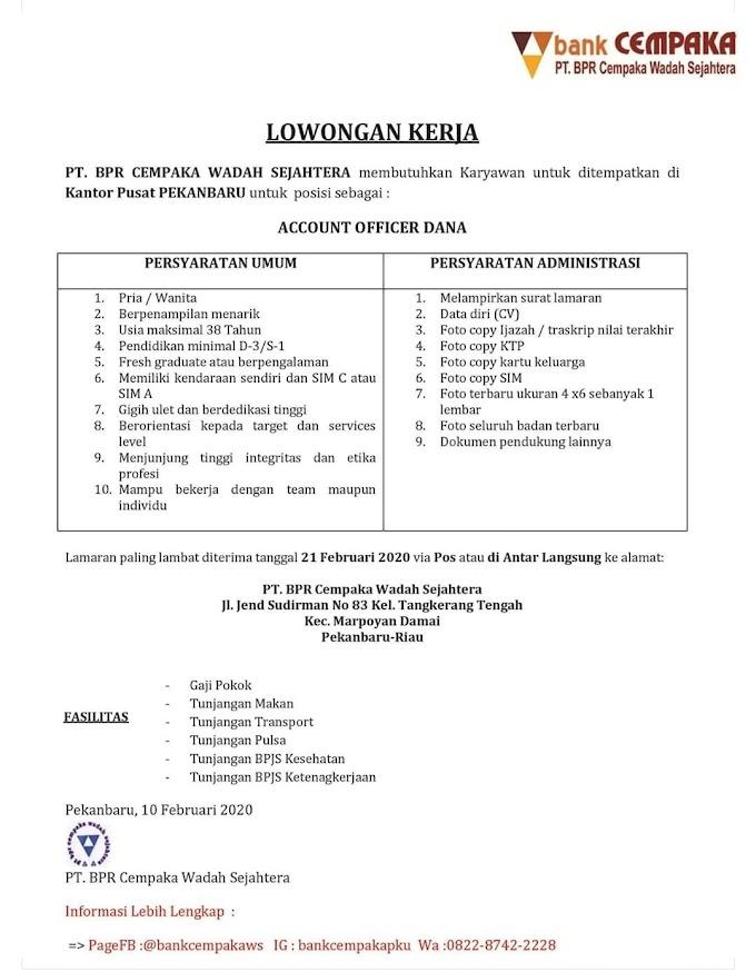 Lowongan Kerja PT. BPR Cempaka Wadah Sejahtera Staf Account Officer Dana