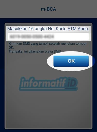 Verifikasi Ulang BCA Mobile - Masukan 16 digit nomor kartu atm BCA