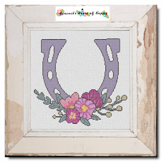 modern wedding cross stitch pattern, floral horseshoe, lucky horseshoe cross stitch, wedding cross stitch