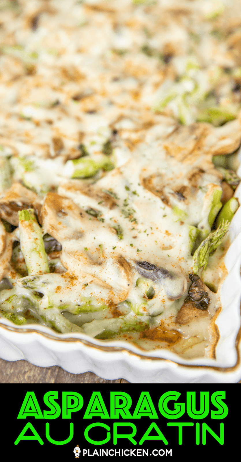 baked cheesy asparagus and mushrooms in baking dish