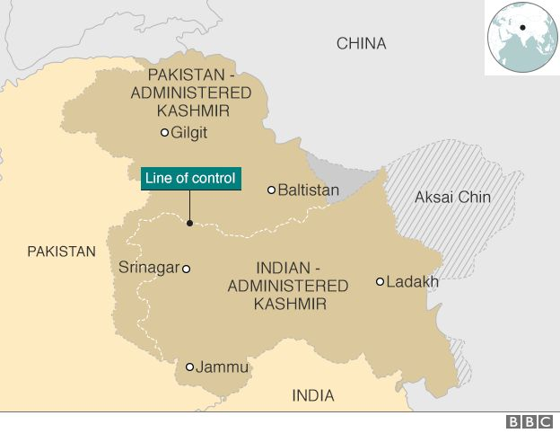 kasmir map pakistan india