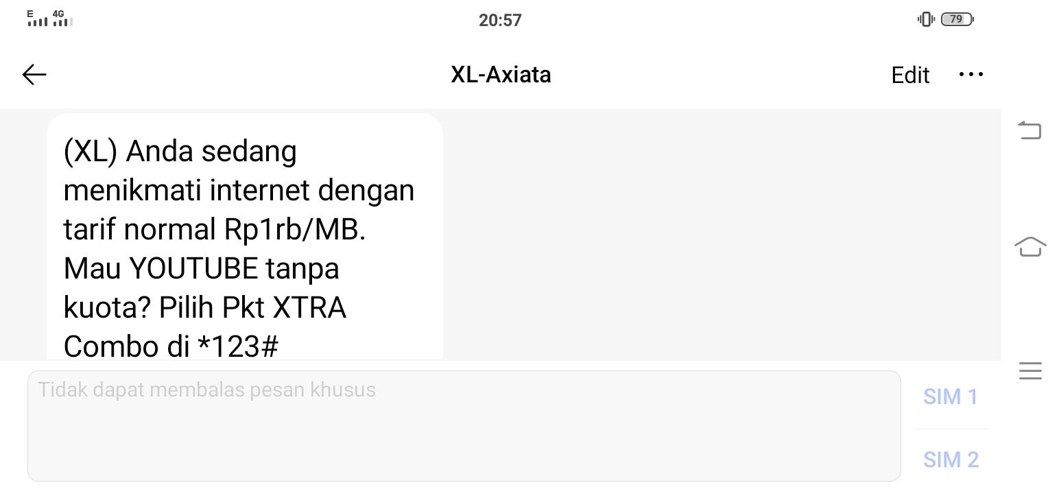 SMS dari XL