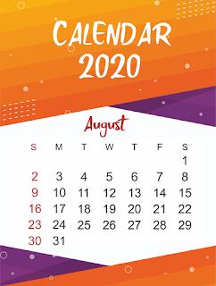 Free Printable Calendar August 2020