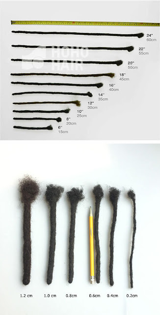 sizes of dreadlocks extensions