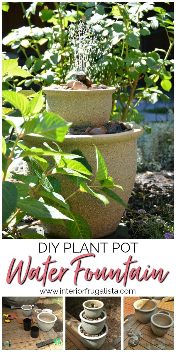 This budget-friendly DIY Plant Pot Water Fountain is the perfect water feature for a deck, patio, porch, or balcony using a trio of flower pots. #waterfountain #stackedflowerpotfountain #diywaterfeature #plantpotfountain