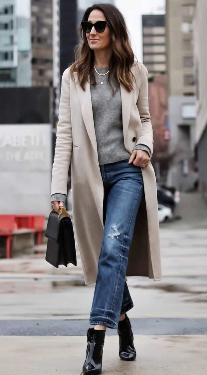 fall fashion trends / boots + boyfriend jeans + bag + nude coat + grey sweater