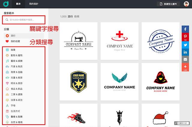 【行銷手札】創業者的好夥伴,品牌 Logo 設計服務 DesignEvo - 用「關鍵字」或「分類」很快就能找到適合的 Logo 商標