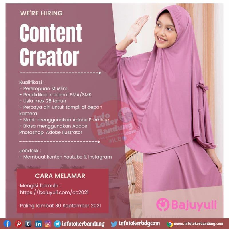 Lowongan Kerja Content Creator  PT Guna Cipta Rekayasa (Baju Yuli) Bandung Agustus 2021