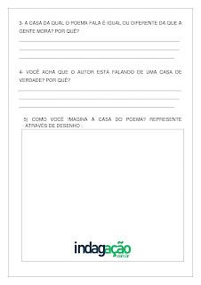 Atividade texto com música A Casa de Vinicius de Moraes em PDF