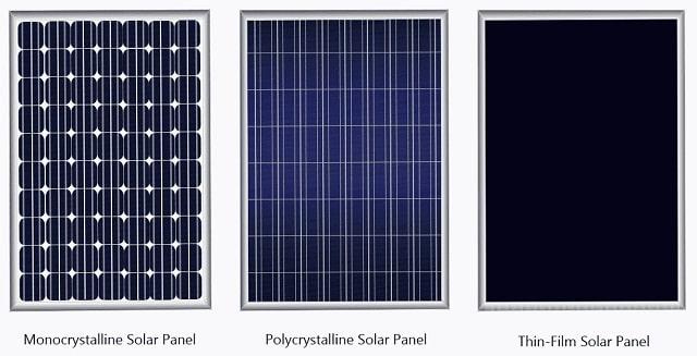 types of solar panels thin film vs monocrystalline versus polycrystalline panel