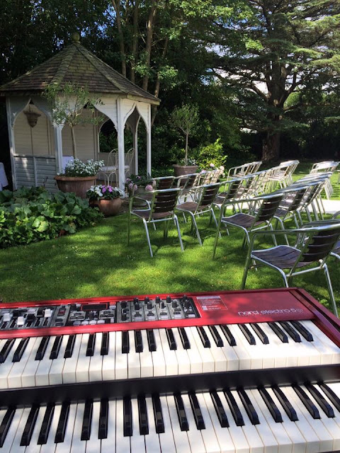 Nord Electro 5D Keyboard set up at outdoor wedding in summer in Britiain