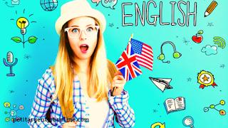 Jeune femme drapeau, apprendre anglais gratuitement, gagner argent en ligne