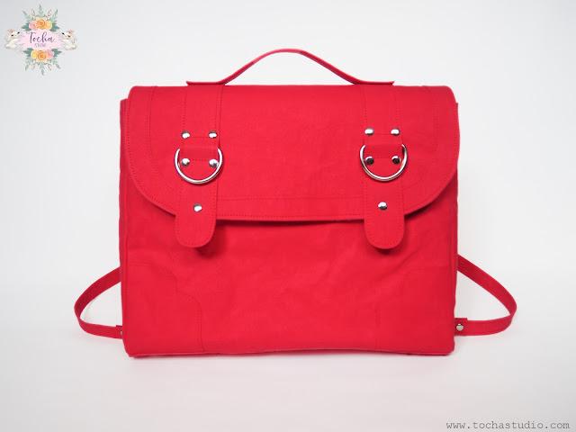 washpapa, satchel, Sew Sweetness, free pattern, kraft-tex, washable paper, snap pap, tornister, messenger bag, Kennedy Bag, vegan leather, vegan bag,