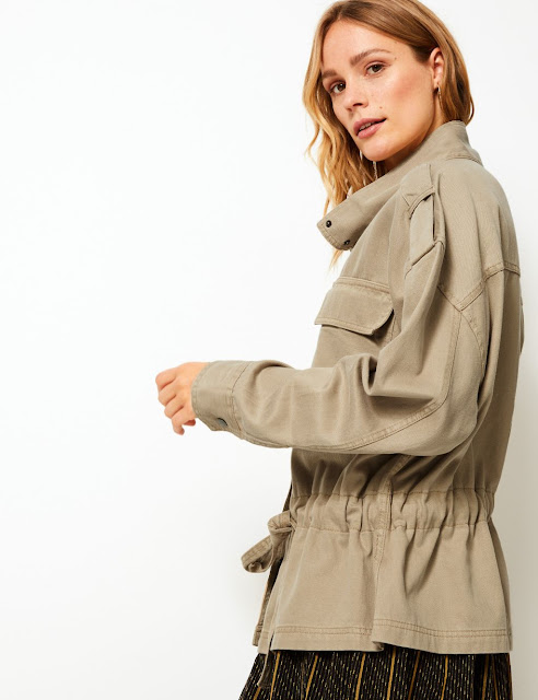marks and spencer button detailed utility bomber jacket