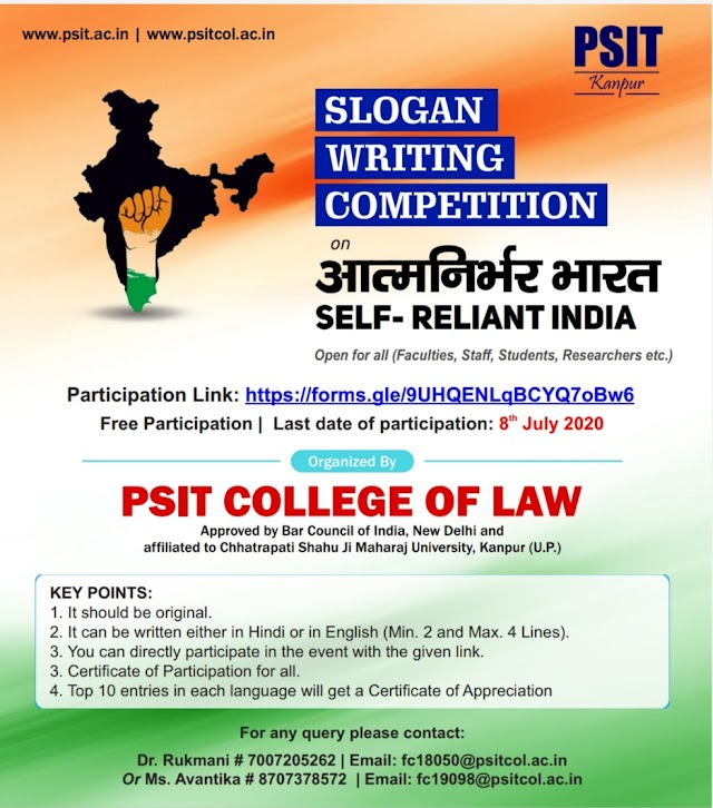 [Online] Slogan Writing Competition by PSIT College of Law, Kanpur [Register soon]