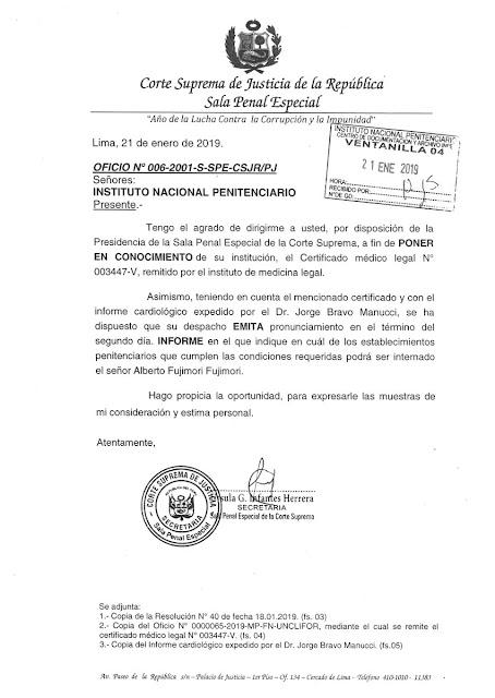 Alberto Fujimori: PJ envió oficio al INPE para que indique penal de reclusión