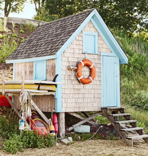 Coastal Nautical Garden Shed Inspiration for the Backyard