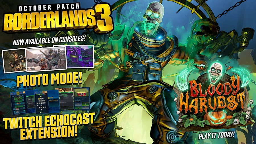 borderlands 3 bloody harvest free content update halloween event pc ps4 xb1 gearbox software 2K games