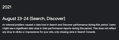 An internal problem caused a data loss in Search and Discover performance during this period