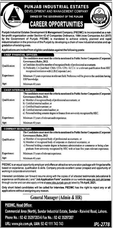 Punjab Industrial Estates Development & Management Company (PIEDMC) Jobs 2021 in Pakistan - Download Job Application Form :- www.pie.com.pk/career