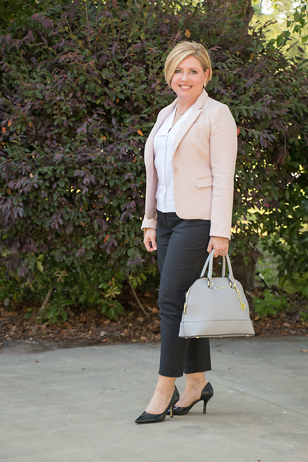 blush blazer outfit, blush and black office wear