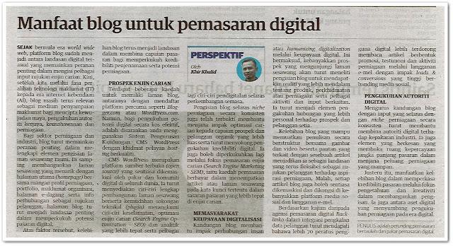 Manfaat blog untuk pemasaran digital | Keratan akhbar Utusan Malaysia 10 Ogos 2021