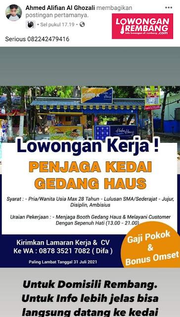 Lowongan Kerja Penjaga Kedai Gedang Haus Rembang