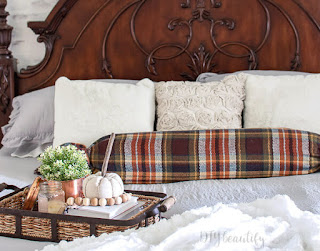 fall decor in master bedroom