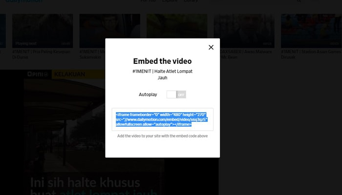 embed video dailymotion