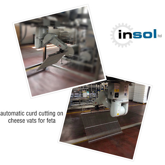 Automatic curd cutting on cheese vats for feta white cheese