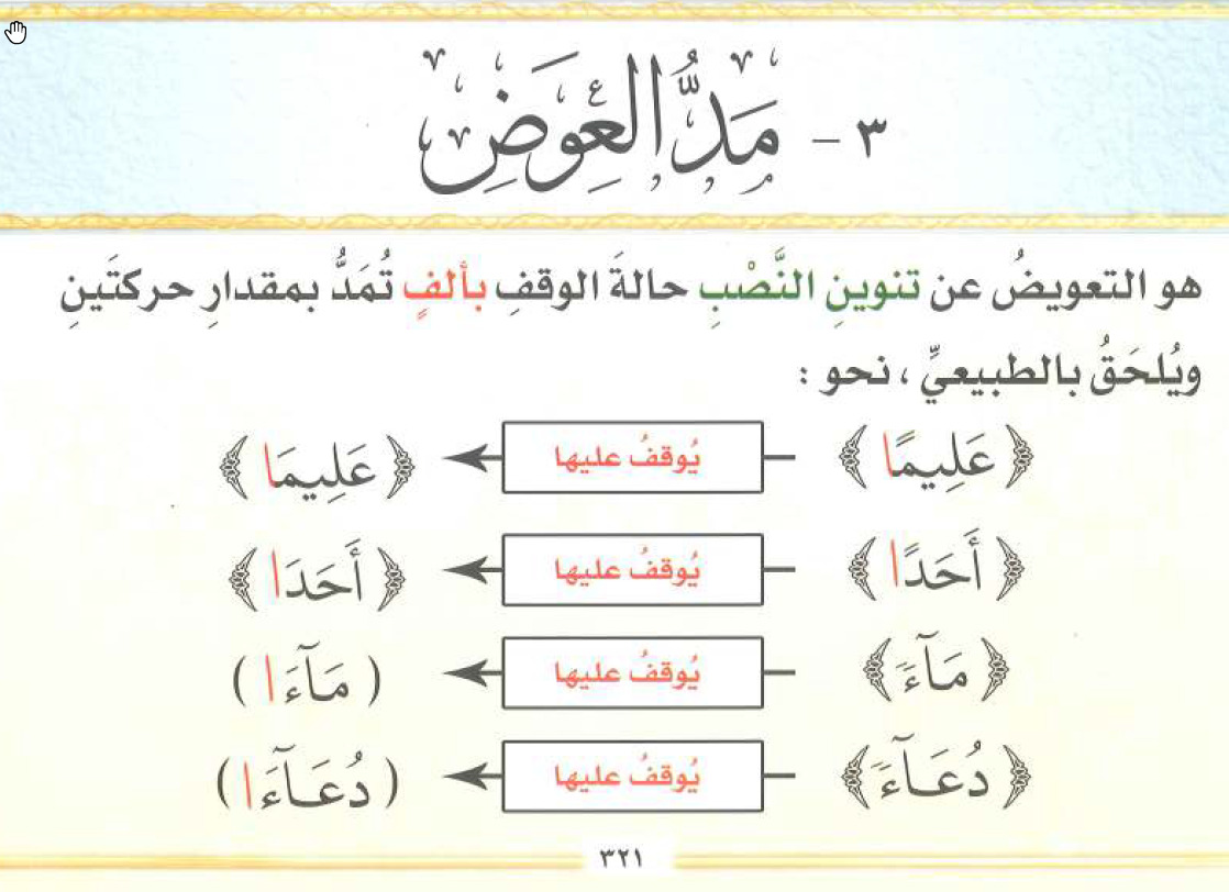 تعليم تجويد القرآن الكريم 71 ملحقات المد الطبيعي مد العوض