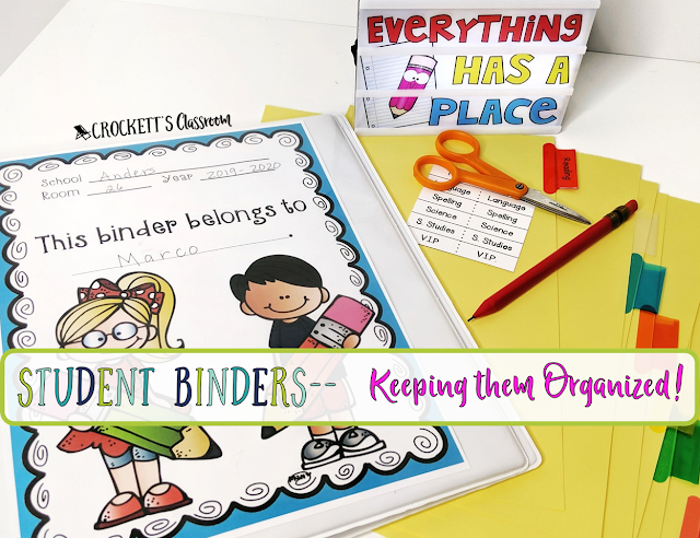 Helping your students keep everything organized is so much easier with binders.  Being organized is an important life skill that needs to be taught.  Showing kids how to set up and maintain a binder isn't difficult, it just takes a little time.