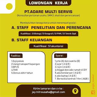 Info Lowongan Kerja Staf Penelitian Perencana Keuangan PT. Adare Multi Service Yogyakarta