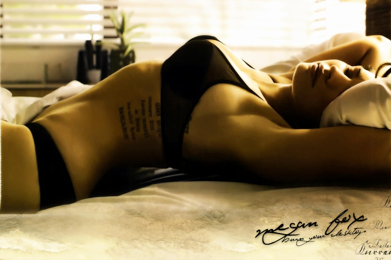 Megan Fox Black Lingerie Hot Wallpaper