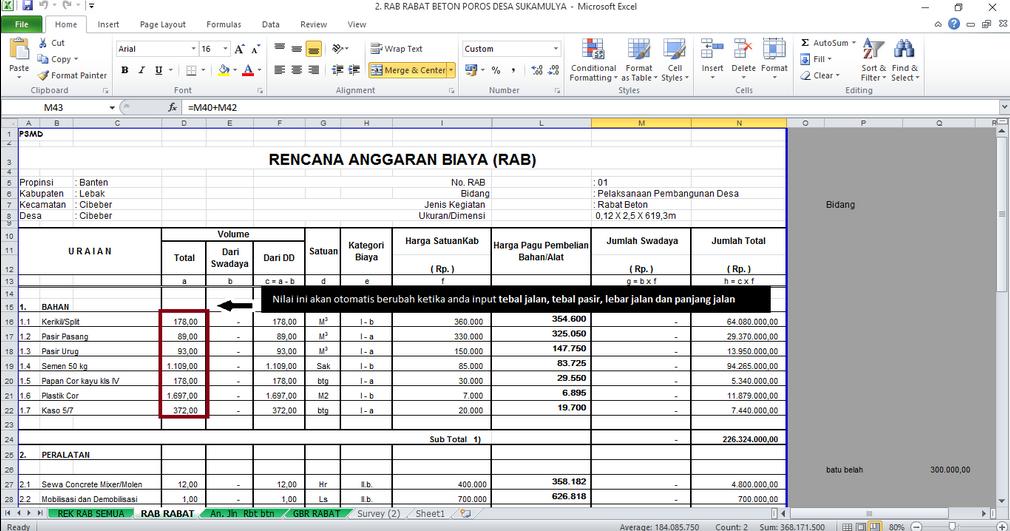 Download Aplikasi Rab Rencana Anggaran Biaya Rabat Beton Jalan Poros Desa Excel Jasa Aplikasi Dan Web