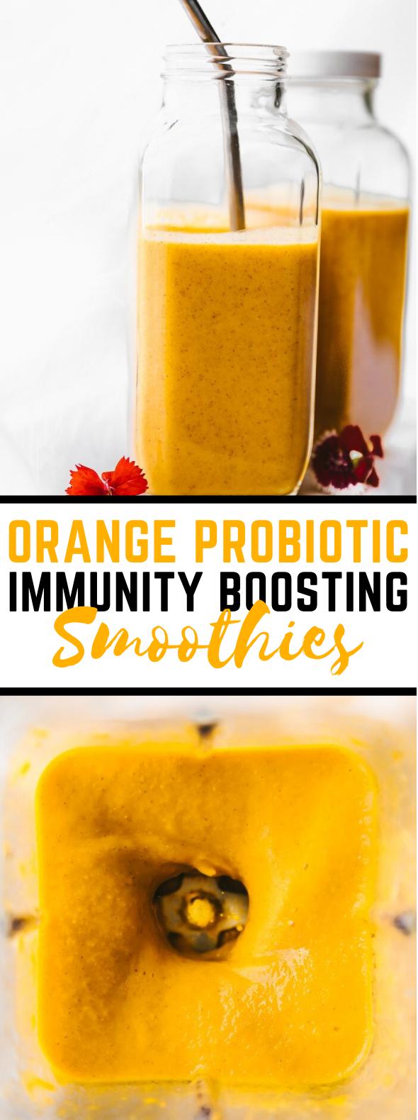 Orange Probiotic Immunity Boosting Smoothies #drinks #breakfast