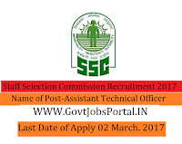 Staff Selection Commission Recruitment 2017– 97 Assistant Training Offices