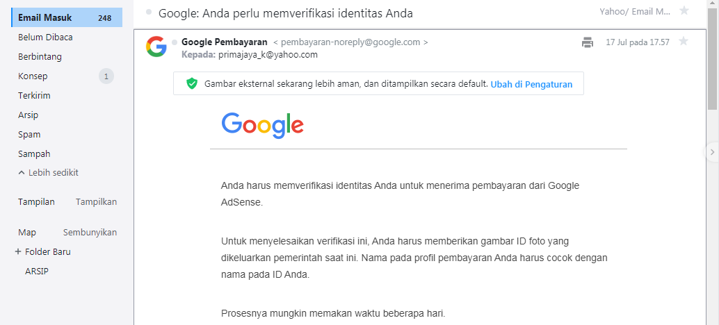 Verifikasi Identitas Account Google AdSense