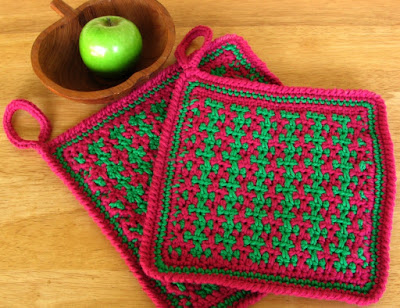 Burgundy Red and Emerald Green Handmade Potholder Set by RSS Designs In Fiber