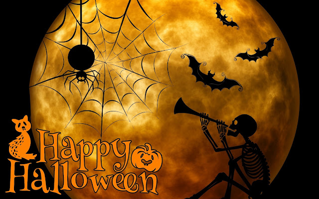 Halloween, HD, Wallpaper, scheletro, ragno, ragnatela, luna