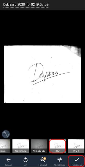 Pilih efek untuk gambar tanda tangan