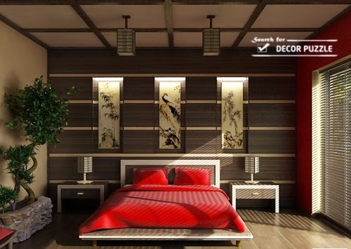 modern Japanese style bedroom wall decor ideas