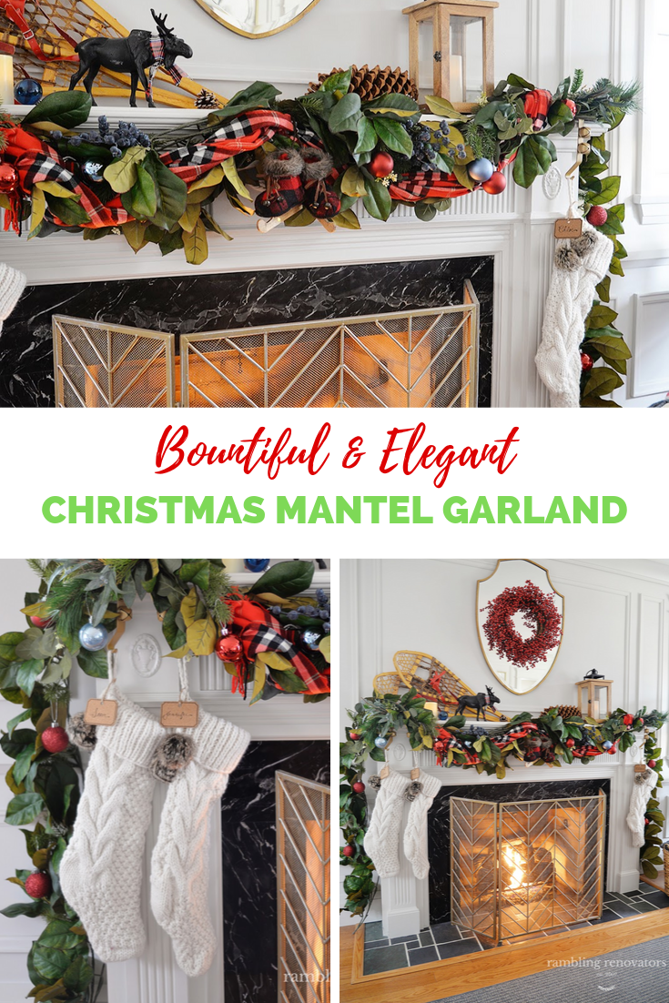 elegant christmas mantel garland, christmas mantle garland ideas, beautiful christmas garland