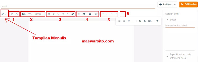 mengenal fungsi menu pada papan postingan blogger